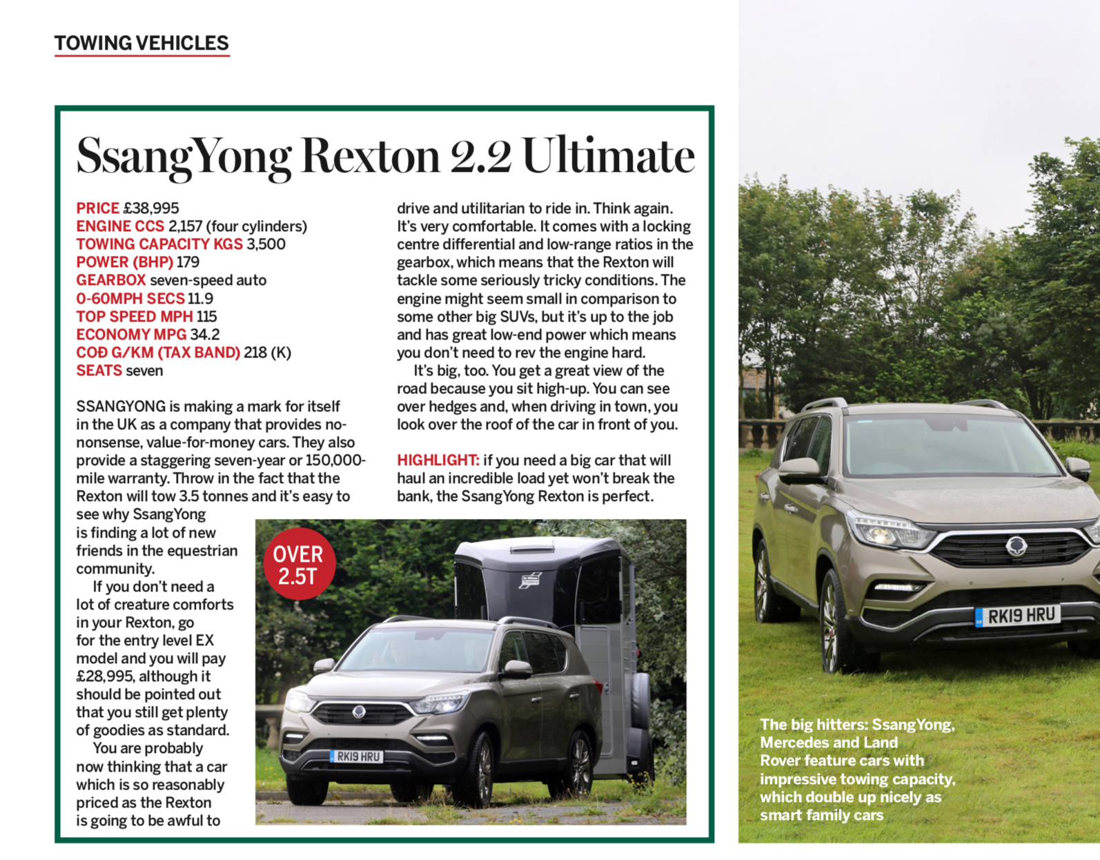 SsangYong Rexton 2.2 Ultimate Towing Review by Horse and Hound Magazine!