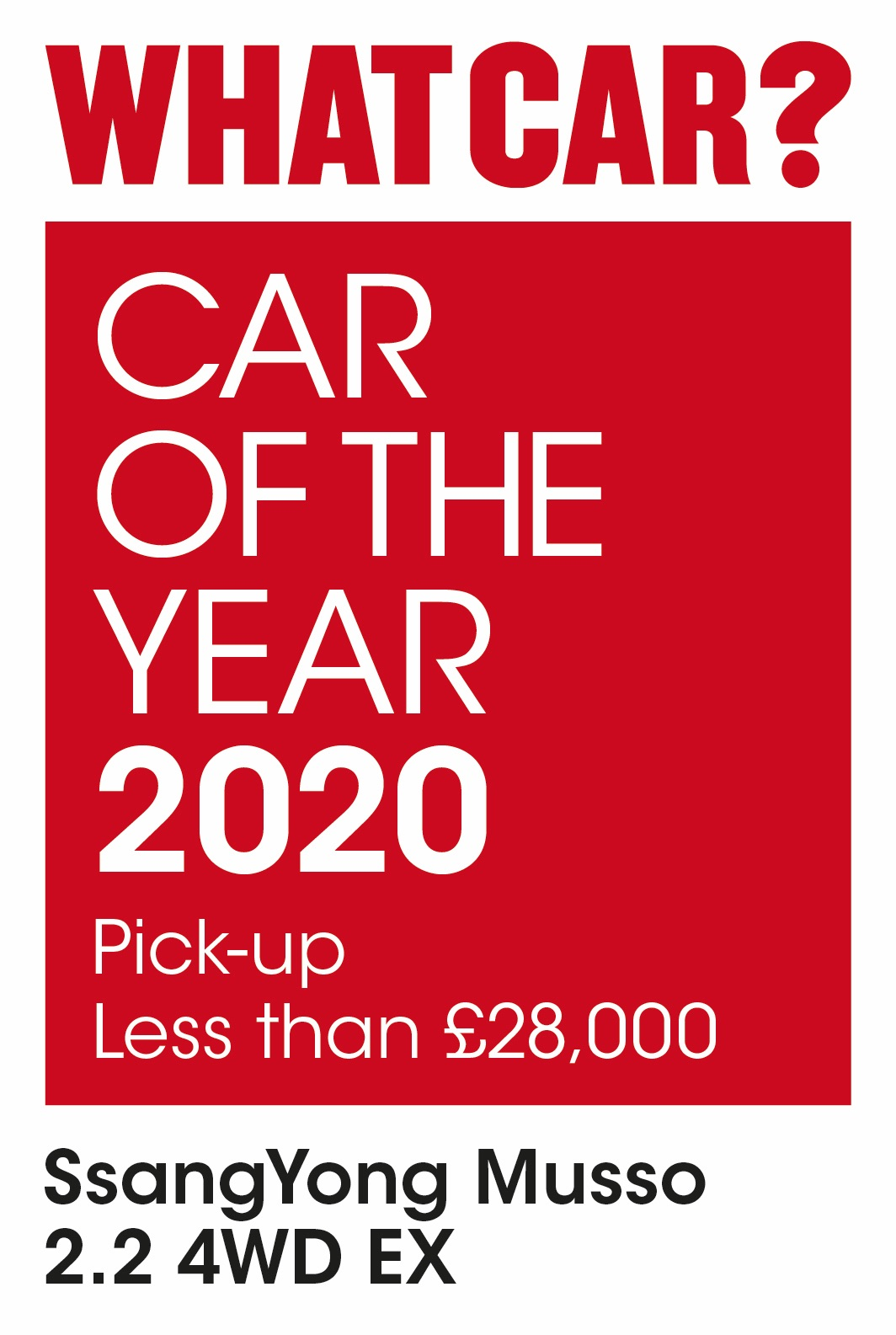 What Car?  SsangYong Musso - WINS Car of the Year 2020 AWARD for Pick-up Less than £28,000