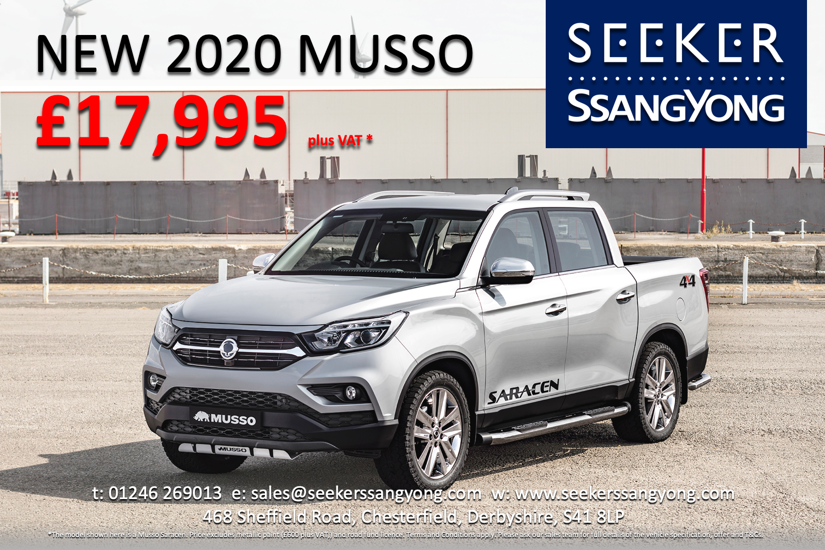 Brand New 2020 Musso EX Pick-up Truck only £17,995 plus VAT - EXCLUSIVE to Seeker SsangYong!